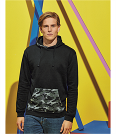 ASQUITH AND FOX MENS CAMO TRIMMED HOODIE