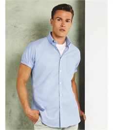 Kustom Kit Men's Short Sleeve Slim Fit Oxford Shirt