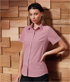 Premier Ladies Gingham Short Sleeve Shirt